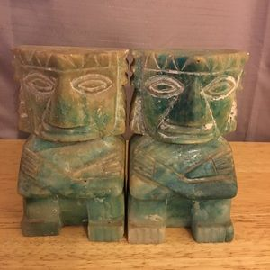 Vintage Onyx Mayan Hand Carved Bookends